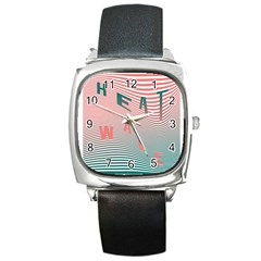Heat Wave Chevron Waves Red Green Square Metal Watch by Mariart