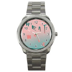 Heat Wave Chevron Waves Red Green Sport Metal Watch by Mariart