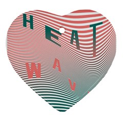 Heat Wave Chevron Waves Red Green Heart Ornament (two Sides) by Mariart