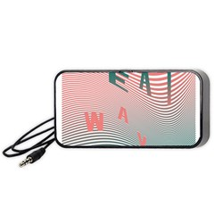 Heat Wave Chevron Waves Red Green Portable Speaker (black) by Mariart