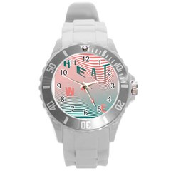 Heat Wave Chevron Waves Red Green Round Plastic Sport Watch (l) by Mariart