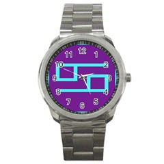 Illustrated Position Purple Blue Star Zodiac Sport Metal Watch by Mariart