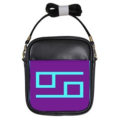 Illustrated Position Purple Blue Star Zodiac Girls Sling Bags by Mariart