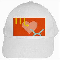Illustrated Zodiac Love Heart Orange Yellow Blue White Cap by Mariart
