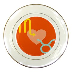 Illustrated Zodiac Love Heart Orange Yellow Blue Porcelain Plates by Mariart