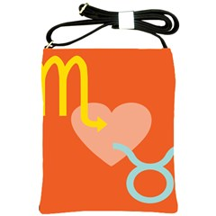Illustrated Zodiac Love Heart Orange Yellow Blue Shoulder Sling Bags by Mariart
