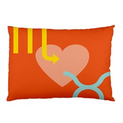 Illustrated Zodiac Love Heart Orange Yellow Blue Pillow Case (two Sides) by Mariart