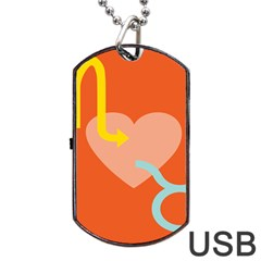 Illustrated Zodiac Love Heart Orange Yellow Blue Dog Tag Usb Flash (one Side) by Mariart