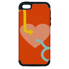 Illustrated Zodiac Love Heart Orange Yellow Blue Apple Iphone 5 Hardshell Case (pc+silicone) by Mariart