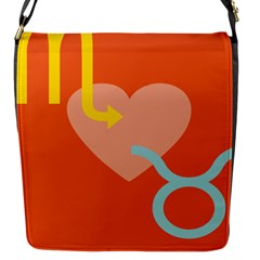 Illustrated Zodiac Love Heart Orange Yellow Blue Flap Messenger Bag (s) by Mariart