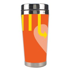 Illustrated Zodiac Love Heart Orange Yellow Blue Stainless Steel Travel Tumblers by Mariart