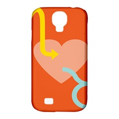 Illustrated Zodiac Love Heart Orange Yellow Blue Samsung Galaxy S4 Classic Hardshell Case (pc+silicone) by Mariart