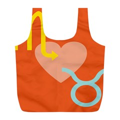 Illustrated Zodiac Love Heart Orange Yellow Blue Full Print Recycle Bags (l)  by Mariart