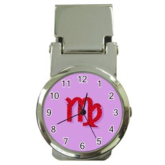 Illustrated Zodiac Purple Red Star Polka Money Clip Watches by Mariart