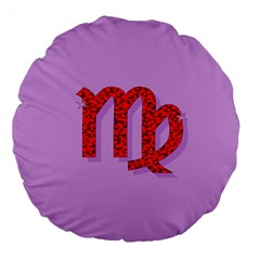 Illustrated Zodiac Purple Red Star Polka Large 18  Premium Round Cushions by Mariart