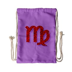 Illustrated Zodiac Purple Red Star Polka Drawstring Bag (small) by Mariart