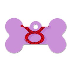 Illustrated Zodiac Purple Red Star Polka Circle Dog Tag Bone (one Side) by Mariart