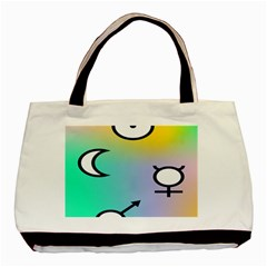 Illustrated Moon Circle Polka Dot Rainbow Basic Tote Bag (two Sides) by Mariart