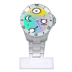 Illustrated Moon Circle Polka Dot Rainbow Plastic Nurses Watch by Mariart