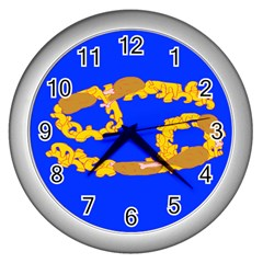 Illustrated 69 Blue Yellow Star Zodiac Wall Clocks (silver)  by Mariart