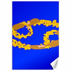 Illustrated 69 Blue Yellow Star Zodiac Canvas 12  x 18