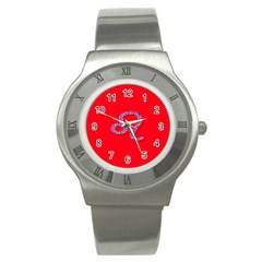 Illustrated Zodiac Red Purple Star Polka Dot Stainless Steel Watch by Mariart