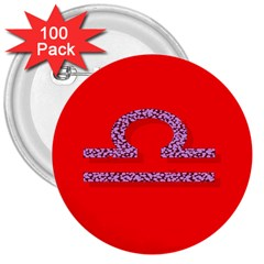 Illustrated Zodiac Red Purple Star Polka 3  Buttons (100 Pack)  by Mariart