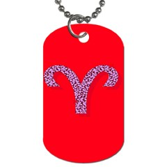 Illustrated Zodiac Red Star Purple Dog Tag (two Sides) by Mariart