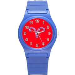 Illustrated Zodiac Red Star Purple Round Plastic Sport Watch (s) by Mariart