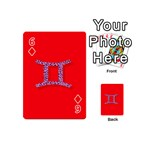 Illustrated Zodiac Red Purple Star Polka Dot Grey Playing Cards 54 (Mini)  Front - Diamond6