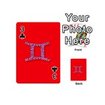 Illustrated Zodiac Red Purple Star Polka Dot Grey Playing Cards 54 (Mini)  Front - Club3