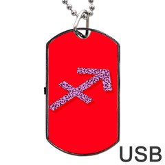 Illustrated Zodiac Star Red Purple Dog Tag Usb Flash (one Side) by Mariart