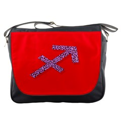 Illustrated Zodiac Star Red Purple Messenger Bags by Mariart