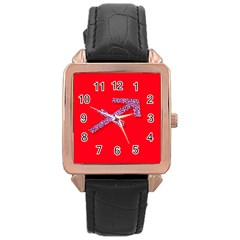 Illustrated Zodiac Star Red Purple Rose Gold Leather Watch  by Mariart