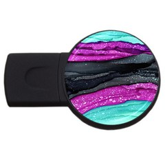 Green Pink Purple Black Stone Usb Flash Drive Round (4 Gb) by Mariart