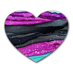 Green Pink Purple Black Stone Heart Mousepads by Mariart