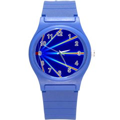 Light Neon Blue Round Plastic Sport Watch (s) by Mariart