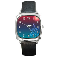 Love Valentine Kiss Purple Red Blue Romantic Square Metal Watch by Mariart