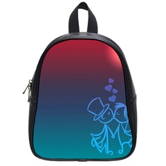 Love Valentine Kiss Purple Red Blue Romantic School Bags (small)  by Mariart