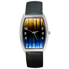 Light Orange Blue Barrel Style Metal Watch by Mariart