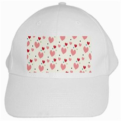 Love Heart Pink Polka Valentine Red Black Green White White Cap by Mariart