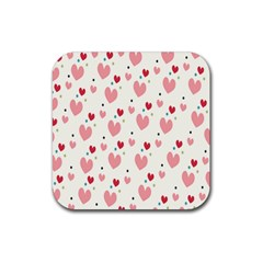 Love Heart Pink Polka Valentine Red Black Green White Rubber Square Coaster (4 Pack)  by Mariart