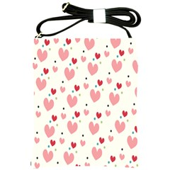 Love Heart Pink Polka Valentine Red Black Green White Shoulder Sling Bags by Mariart