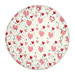 Love Heart Pink Polka Valentine Red Black Green White Round Filigree Ornament (two Sides) by Mariart
