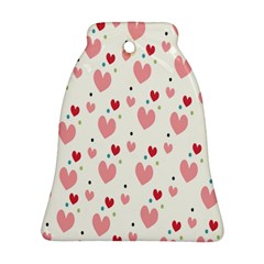 Love Heart Pink Polka Valentine Red Black Green White Bell Ornament (two Sides) by Mariart