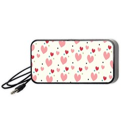 Love Heart Pink Polka Valentine Red Black Green White Portable Speaker (Black)