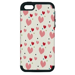 Love Heart Pink Polka Valentine Red Black Green White Apple Iphone 5 Hardshell Case (pc+silicone) by Mariart
