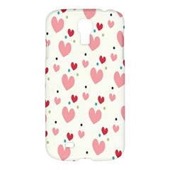 Love Heart Pink Polka Valentine Red Black Green White Samsung Galaxy S4 I9500/i9505 Hardshell Case by Mariart