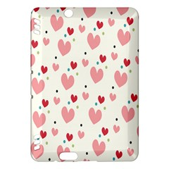 Love Heart Pink Polka Valentine Red Black Green White Kindle Fire Hdx Hardshell Case by Mariart
