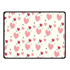 Love Heart Pink Polka Valentine Red Black Green White Double Sided Fleece Blanket (small)  by Mariart